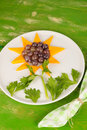 Kid party dessert fruit served shaped as a sunflower a desser Stock Images