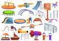 Kid playground icons set, cartoon style