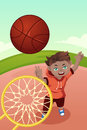 Kid playing basketball a vector illustration of an active boy Stock Photography
