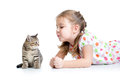 Kid playing with cat kitten Royalty Free Stock Photo