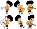 Kid playing musical instruments such as trumpet,saxophone,violin,drum,clarinet and guitar.