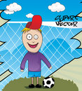 Kid playing soccer cartoon Stock Image