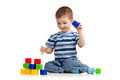 Kid playing toy blocks Royalty Free Stock Photos