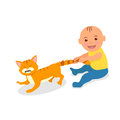 The kid plays with a red cat toddler grabbed the cat s tail the cat bristled pain cartoon vector illustration Stock Photography