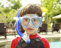 Kid ready to swim Stock Photos