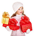 Kid with red Christmas gift box. Royalty Free Stock Photography