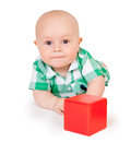 Kid with a red cube Royalty Free Stock Images