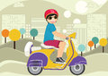 Kid riding bike illustration Royalty Free Stock Photo