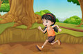 A kid running at the forest illustration of Royalty Free Stock Photos