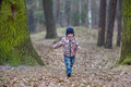 Kid running in the outumn forest. Boy happy in fallen leaves to his mother Royalty Free Stock Photo