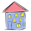 Kid s drawing of a house a illustration Royalty Free Stock Image