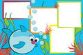 Kid scrapbook - Fish and air bubbles Stock Photography