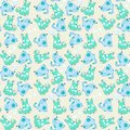 Kid seamless pattern cartoon blue dogs file eps format Royalty Free Stock Image