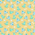 Kid seamless pattern cartoon blue dogs file eps format Stock Photography