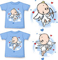 Kid shirt with cute angel printed isolated on white Stock Photo