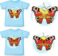 Kid shirt with cute butterfly printed isolated on white Royalty Free Stock Photography