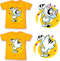 Kid shirt with cute cat printed isolated on white back and front view Stock Photos