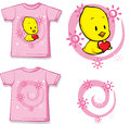 Kid shirt with cute chick printed isolated on white back and front view Stock Images