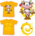Kid shirt with cute cow printed isolated on white back and front view Royalty Free Stock Images