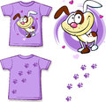 Kid shirt with cute dog printed isolated on white back and front view Royalty Free Stock Photography