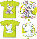 Kid shirt with cute mouse printed isolated on white Royalty Free Stock Photos