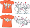 Kid shirt with cute mouses in love printed