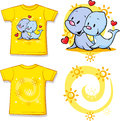 Kid shirt with cute seal printed isolated on white back and front view Stock Images