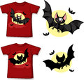Kid shirt with cute vampire printed isolated on white back and front view Stock Photography
