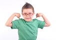 Kid showing his muscles Stock Photography