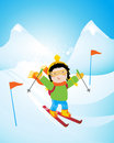 Kid skiing Royalty Free Stock Photos