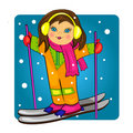 Kid skiing on snowy background.s Royalty Free Stock Images