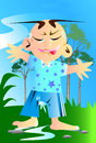 Kid sorry creative cartoon graphics expressive and emotional vocals spurring impressive character natural tree decorated with sky Stock Photos