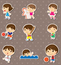 Kid sport stickers Stock Images