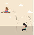 Kid with spring at shoe jump across another man vector cartoon of Royalty Free Stock Photography