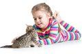 Kid stroking cat kitten Royalty Free Stock Photo