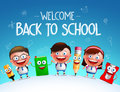 Kid students vector characters and funny school items mascot