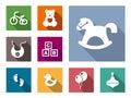 Kid stuff flat icons set with bicycle bear toy bib horse rocking footprint duck balloons pinwheel Stock Photography