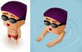 Kid swimming learning vector illustrator Stock Photography