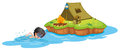A kid swimming near a campsite illustration of on white background Stock Images