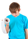 Kid with Toilet Paper Royalty Free Stock Photo