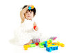 Kid and toys baby girl playing building blocks Stock Photos