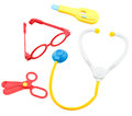 Kid toys medical equipment tool set isolated Royalty Free Stock Images