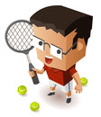 Kid training tennis vector illustration Stock Images