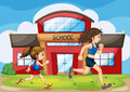 A kid and a woman running in front of the school illustration Royalty Free Stock Image