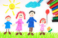 Kiddie style crayon drawing of a happy family Royalty Free Stock Photo
