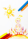 Kiddie style crayon drawing postcard with fresh colours Royalty Free Stock Photo