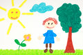 Kiddie style drawing of a flower tree and child on green meadow Stock Photos