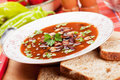 Kidney bean soup thick with bread and paprika isolated on white background Royalty Free Stock Photos