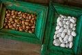 Kidney bean in vintage frames Stock Photos
