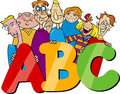 Kids with abc letters cartoon illustration of school children or teenagers group Royalty Free Stock Images